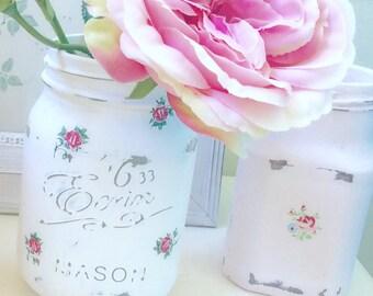Cath Kidston Mason Jar 0.5L / Provence Rose white Vase / Vintagestyle/ Shabby Chic Mason Jar