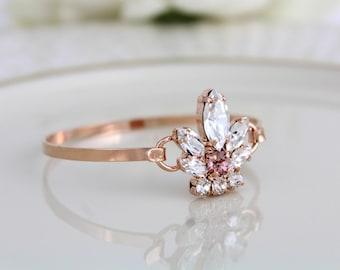 Bridal Wedding bracelet, Rose gold bracelet, Bridal bracelet, Swarovski crystal bracelet, Bangle bracelet, Crystal Cuff bracelet, Wedding