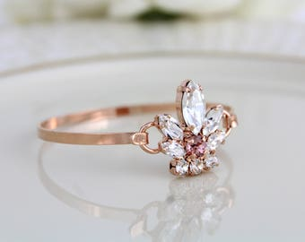 Rose gold bracelet, Bridal bracelet, Bridal jewelry, Swarovski crystal bracelet, Bangle bracelet, Crystal Cuff bracelet, Wedding jewelry