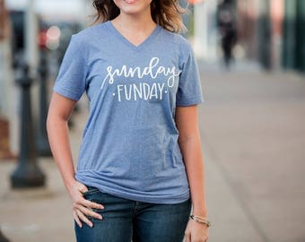 Sunday Funday. Sunday Tee. Unisex Graphic Tee. Womens Graphic Tee. Unisex. VNeck.