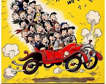 Help Win The War Poster - World War II Art - Squeeze In One More - Carpool Vintage Print Art - Home Decor