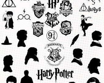 Harry Potter - 35 svg/dxf/eps/silhouette studio/png - Silhouettes, cutting file - Harry Potter Hogwarts characters svg die cutting files