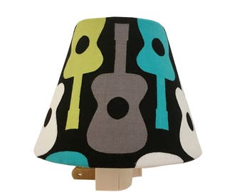Groovy Guitar  Night Light-Baby Boy-Lagoon -Children Kids Room - Baby Boy Nursery Decor -Michael Miller Guitars-Nursery Night Light