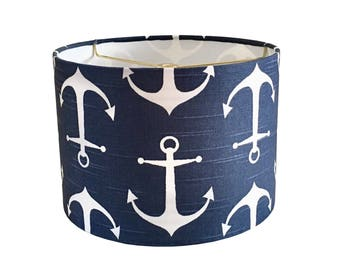Nursery lamp etsy anchor lampshade nautical baby boy nursery lamps navy blue white kids room bedroom aloadofball Gallery