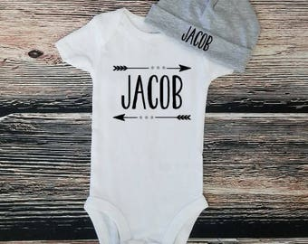 Personalized name bodysuit, take home outfit, baby shower gift