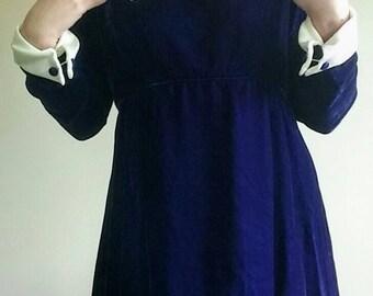 60's Amazing Mod Designer Emma Domb Satin Puritan Collar Purple Velvet Long Sleeved Maxi Dress, Size S/M