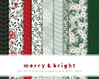 Merry and Bright Digital Scrapbooking Paper Collection  {  Set of 9  }  Digital Papers &  {  Set of 6  }  Unique Gift Tags