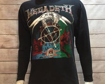 Rare Vintage Megadeth Shirt On Tour Shirt Long Sleeve Vintage Heavy Metal Shirt