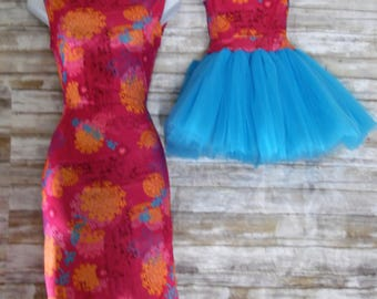 """Mother Daughter Matching Dress. """"Lucy""""  Pink and aqua floral pattern. Mommy and Me matching outfits"""