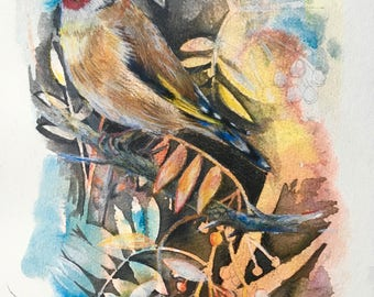 Autumn Goldfinch Giclee Print of an Ink and Coloured Pencil Painting