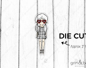 Heart Glasses Girl - Doodle Girls Die Cut (DD003)