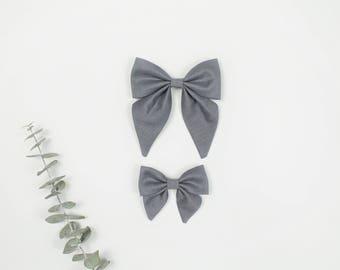 Sailor Bow, Gray Sailor Bow, Large Sailor Bow, Small Sailor Bow, Sailor Bow Headband, Sailor Bow Hair Clip