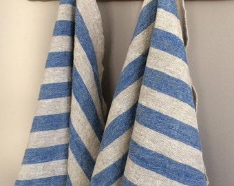Linen Kitchen Towel, Blue Striped Linen Tea Towel, Striped Kitchen Towel