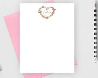 Personalized stationery set, heart stationery notecard, personalized kids stationary set, personalized note card set, flat note card, Just