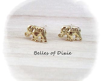 GOLD Elephant Stud Earrings ~ Elephant Post Earrings ~ Elephant Jewelry ~ Sorority Gift Delta Sigma Theta ~ Good Luck Jewelry