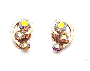 Vintage Clip On 50s Earrings Marquise Cut Aurora Borealis Rhinestones with Gold Tone Metal Rainbow Gemstones Retro Mod Wedding Classic