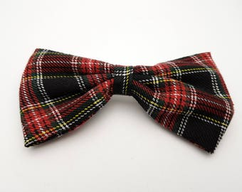 Vintage 90s Plaid Fabric Bow Grunge Hairclip Checks Barrette Hair Clip silver tone clip hairdo coiffure hairstyle
