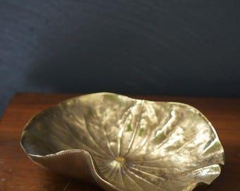 brass lotus leaf sculpture dish - virginia metal crafters cast brass sculpture - oskar j.w. hansen design - brass dish - vintage sculpture