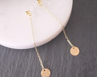 Gold chain earring, Round parts earrings, invisible clip on,