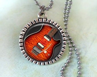 Electric Guitar with Whammy Bar Necklace, Musician Gift, Guitarist Birthday Gift, Guitar Player Gift, Music Lover Gift