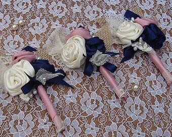 Navy pink  boutonniere , lapel ,buttonhole,rose, navy, royal blue, dusky pink
