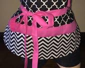 Black, White, and Pink Half Waist Pocket Apron