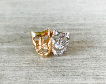 14k yellow and white gold diamond studded theater masks pin