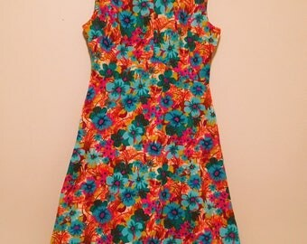 Fabulous Vintage 1960's-1970's Mod Dress Brightly Patterned S/M - AS IS, See Details!