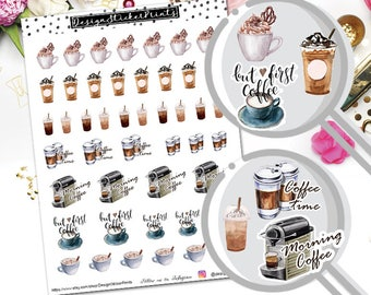 Coffee Stickers/Planner Stickers for Erin Condren Lifeplanner/Happy Planner Stickers/Deco Sticker kit/Watercolor coffee sticker kit