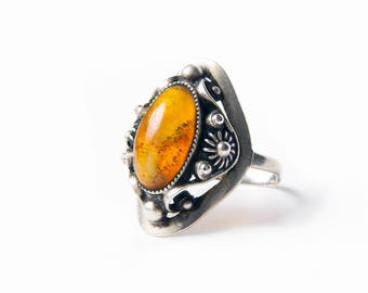 Vintage silver ring. Baltic amber. Amber ring. 1950's. USSR ring