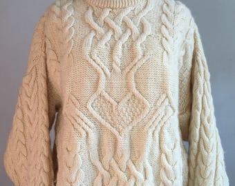 Vintage Irish Knit Sweater, Vintage Aran Style Sweater
