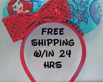 Disney inspired Ariel Little Mermaid and Sebastian Mickey mouse ears headband with a blingy red side bow - super cute!