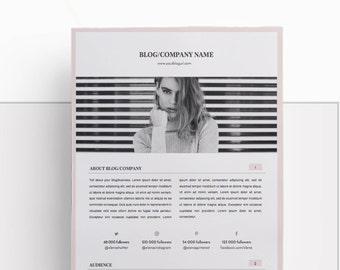 Media Kit Template and Ad Rate Sheet | Blog Media Kit | Branding Kit | Social Media Kit for Bloggers | PSD and DOCX files