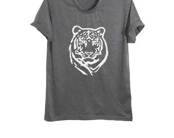 Tiger print shirt leopard bengal tiger t shirt women tops clothing mens animal tees wildlife t shirts size XS S M L