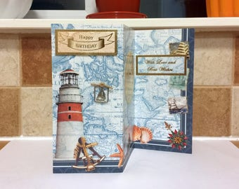 3D Male Birthday Card - Lighthouse - luxury personalised unique quality special bespoke UK - Dad/Son/Uncle/Brother/Nephew