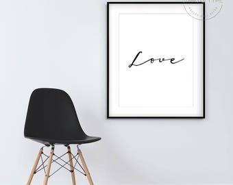 Love Art, Printable Wall Art, Word Art, Typography, Calligraphy Type, Minimalist Design, Single Word, Black and White, Digital Poster Print