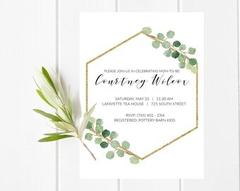Baby Shower Invitation, Gold and Green Baby Shower Card, Baby Shower Greenery Invitation, Green and Gold Foil Floral Baby Shower Invitation