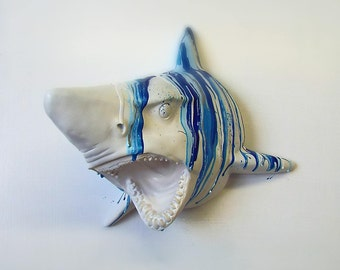 Shark head ~ wall mount faux taxidermy ~ bright colours ivory gold silver metallics ~ hand painted