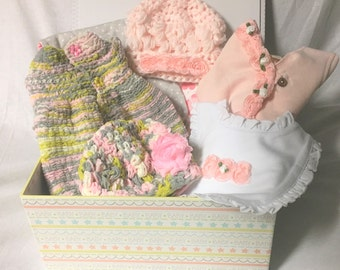 Baby girl gift basket, baby shower gift, new baby girl gift, baby girl clothes