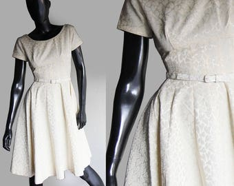 Vintage 50s Pale yellow Satin brocade Flared  dress with matching belt  Size Small