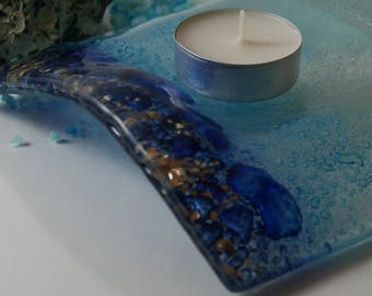 Blue Gold Bubbles Glass Candle Arch Unique trinket,candle bridge,tealights,coastal gift,river,glitter,sea glass,ocean lover,turquoise glass