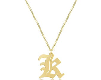 14K Solid Yellow Gold Uppercase Old English Initial Letter Pendant Rolo Chain Necklace Set - A-Z Any Alphabet Charm