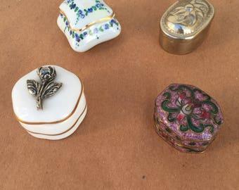 Set of 4 tiny decorative boxes