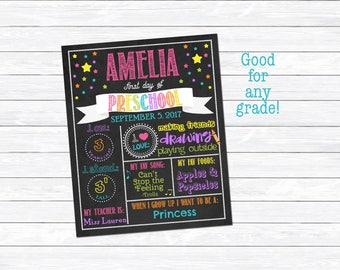 Girl's First Day of Preschool Printable, First Day of Preschool Sign, Milestone Chart, Chalkboard Print, Digital Download, Personalized Sign