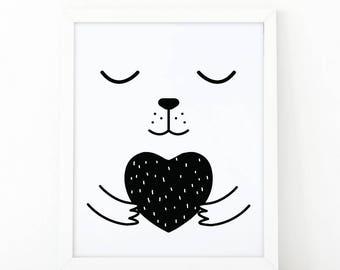 Bearheart, Sleepy bear, Nursery Wall art, Bear face, cute bear Print, nursery decor, kids room print, kids Printable art, scandinavian print