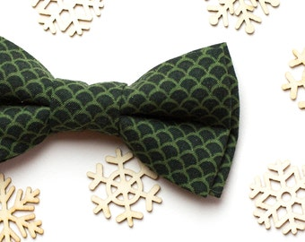 Mens gift Christmas Gift Idea Birthday gift Boyfriend gift Green Scale Cotton bow tie Boys bowtie Bow tie for men Wedding bow tie Bowties