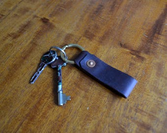 Leather and Brass Riveted Loop Key Tag