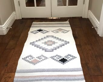Vintage Native Rug with Geometric Pattern- Boho Wall Tapestry- 4 ft 8 in x 2 ft 4 in