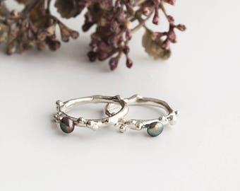 Small Black Pearl & Bubble Ring