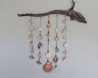 Driftwood Seashell Wall Hanging / Large Coastal Wall Decor